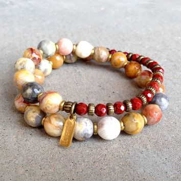 Joy and Grounding, Crazy Lace Agate and Red Jasper 27 Bead Wrap Mala Bracelet