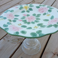Upcycled Pedestal Cake Stand Plate Spring Summer Pink Green Roses
