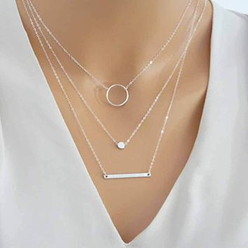 Wild Aperture Metal Rods Layered Necklace