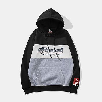 VANS new tide brand hit color hooded sports and leisure sweater black