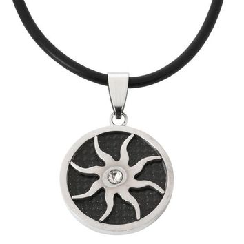 DCCKU3R Carbon Cutout Sun Stainless Steel Cord Necklace