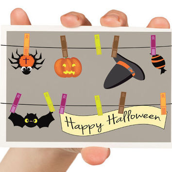 October 31st Card Happy Halloween 5 x 7 Greeting by TheWallaroo
