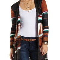 Geo Duster Cardigan Sweater by Charlotte Russe - Black Combo