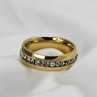 Fashion Stainless Steel Inlaid Zircon Men's Rings (1 Pcs)