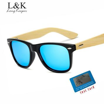 Long Keeper Polarized Bamboo Sunglasses with Mirrored Lenses