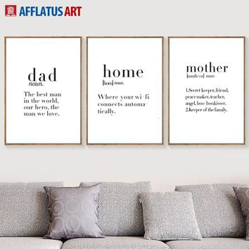 Dad Mather Home Quotes Nordic Poster Wall Art Canvas Painting Posters And Prints Black White Wall Pictures For Living Room Decor
