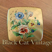 Vintage, small, brass, snuff, tobacco, box, pill, holder ladies, Floral, flowers, antique, case