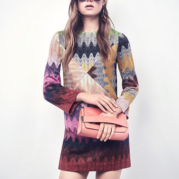 Missoni Long Sleeve Lurex Shift Dress at INTERMIX | Shop Now | Shop IntermixOnline.com