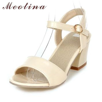 Meotina Women Sandals 2017 Summer Shoes Sandals Size 9 10 Open Toe Ladies Chunky High