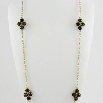 Long Stella and  Dot Style Black and Gold Color Bubble Layering Statement Necklace