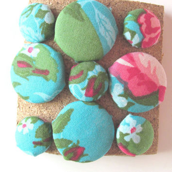 Turquoise Floral Push Pins, Bullentin Board Decoration