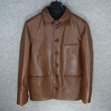 Free .Brand new classic mens cowhide Jackets,quality men thick genuine Leather jacket.sales casual warm long coat,
