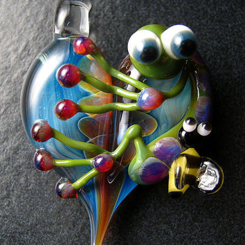 Bumble Bee Frog pendant - glass heart lampwork pendant focal bead necklace - Boomwire Glass jewelry