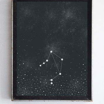 Libra Zodiac Constellation Stars, Night Sky Fine Art Print Home Decor Wall Art 8x10 Night Sky Print Zodiac Home Decor
