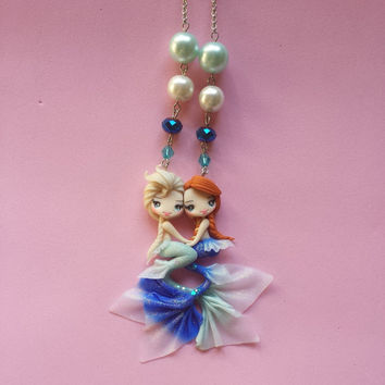 Necklace mermaid Elsa and Anna frozen in fimo, polymer clay