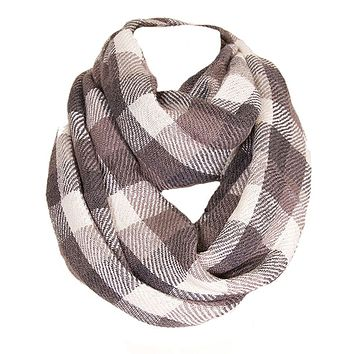 Soft Classic Charcoal Checkered Plaid Infinity Loop Scarf