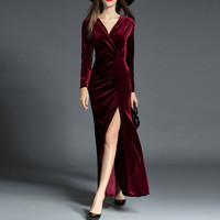 Women Velvet Dress Long Sleeve Party Dress Newest Design Ankle-length Wine Red Dresses Maxis Splits Dressees vestidos mujer 2016