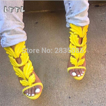 LTTL Design Cruel Summer Leaves Angle Wings Shoes Woman Buckle Strap Gladiator High Heels Sandals Women Gold Silver Yellow White