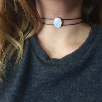Opal choker, Opalite choker, moonstone choker, crystal choker, Opal necklace, white opal necklace, aurora borealis necklace, pastel goth