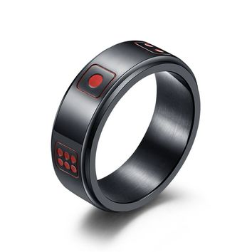 Lucky Dice Rings for Men Women Stainless Steel Black Silver Gold Color Rotable Spinner Punk Titanium Ring