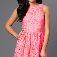 Lace Sleeveless Short A-Line Dress