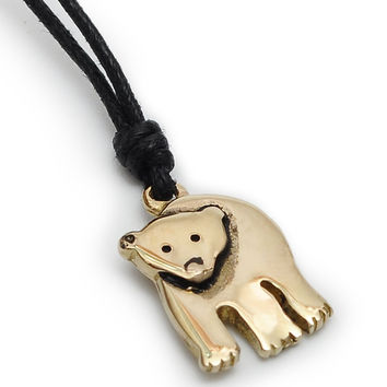 Polar Bear Handmade Brass Necklace Pendant Jewelry