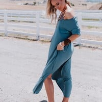 High Tides Side Slit Maxi Dress - Titanium