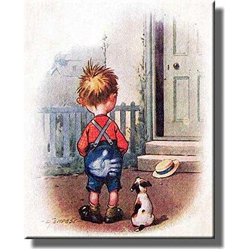 Boy Getting Spanked Funny Picture on Stretched Canvas, Wall Art decor, Ready to Hang!