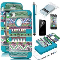 iPhone 4S Case, iPhone 4 Case, ULAK Unique Tribal Heavy Duty Hybrid Rugged High Impact Shockproof Hard Case for iPhone 4S iPhone 4 Cover with Screen Protector and Stylus (Green/Blue)