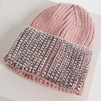 AKIRA Ribbed Knit Rhinestone Front Beanie in Black, Pink, Ivory