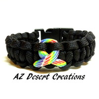 Autism Awareness Survival Paracord Bracelet Black with Autism Ribbon