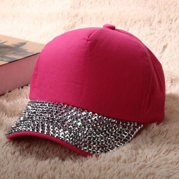 DCCKU62 Fashion Women Caps Brand Design Women Rhinestone Cotton Baseball Cap Size Adjustabl Women Crystal Hip Hop Snapback Hat Men New