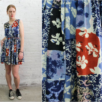90s floral patchwork vintage romper / sleeveless button front tie waist one piece play suit