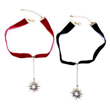 Simple ribbon star pendant ladies necklace