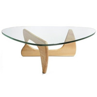Isamu Noguchi Style Triangle Coffee Table with Wood Base Natural