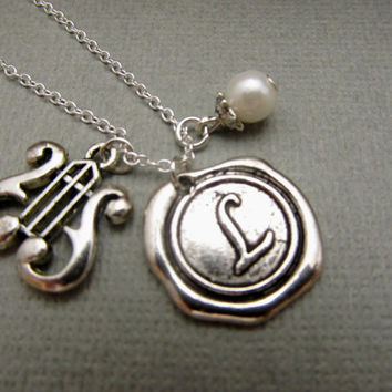 Monogramed Harp Necklace, initial hand stamped, personalized antique silver Wax Seal Pendant, monogram