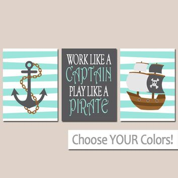 Pirate Wall Art, Boy Pirate Nursery Pirate Theme Baby Boy Nursery Wall Art, Boy Bedroom Pictures CANVAS or Prints Boy Boy Wall Art, Set of 3