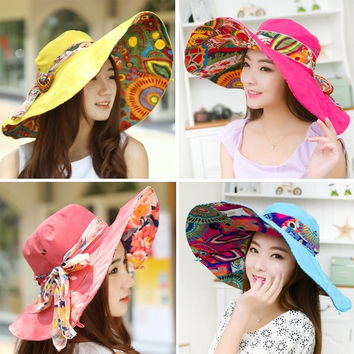 Cool!Fashion Bohemian Style High Quality Cloth Summer Hat For Women Large Visors Sun Hat Beach Hat