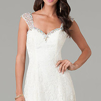 Short Ivory Lace Sleeveless Dress by Dave and Johnny