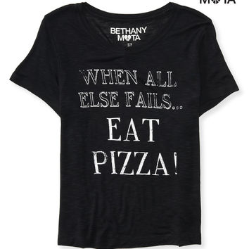 Aeropostale  Womens Eat Pizza Crop Graphic T-Shirt