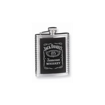 Jack Daniels Stainless Steel Leather Inset Ribbed Flask - Engravable Gift Item