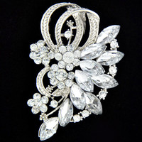 Fashion Girl Women's Crystal Rhinestone Flower Bride Brooch Pin 314