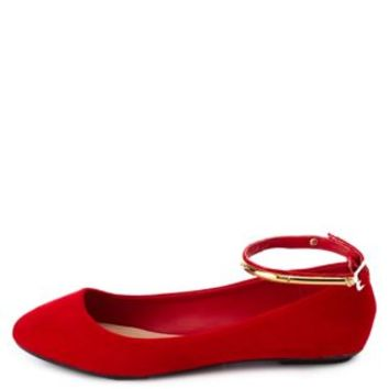Bamboo Gold-Plated Ankle Strap Ballet Flats by Charlotte Russe - Red