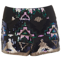 Blue Aztec Sequin Short - Shorts - Apparel