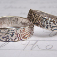 shakespeare quote wedding band ring set to by peacesofindigo