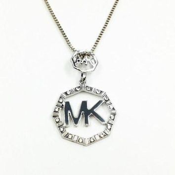 Mk Fashion Logo Crystal Diamonds Octagon Necklace