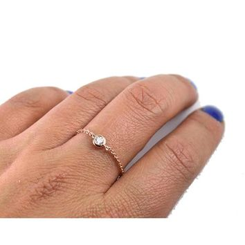 size #5-8 delicate single stone AAA+ cubic zirconia thin chain design simple bezel cz dainty stunning girl women 925 silver ring
