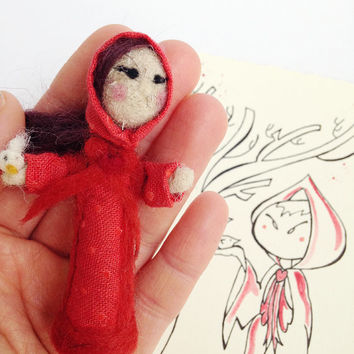 Needle felted doll and card, gift set in collaboration with Pupillae Art Doll