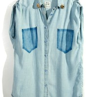 Denim Shirt with Shadow Pockets and Skull Collar Detail
