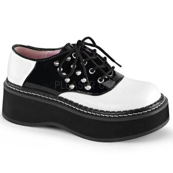 Fashion Online Demonia Lace Up Two Inch Saddle Shoes